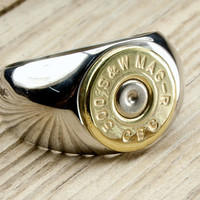 Men's Stainless Steel & Brass Bullet Ring