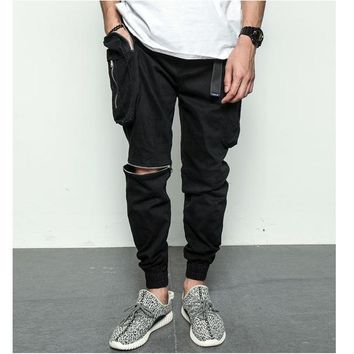 black white Big pockets quality zipper cargo baggy mens hip hop streetwear jogger pants harem sweatpants trousers