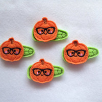 Adorable Halloween Pumpkin with Glasses Felt Snap Clip Barrettes