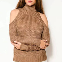 Brown Turtle Neck Cutout-Shoulder Knitted Sweater