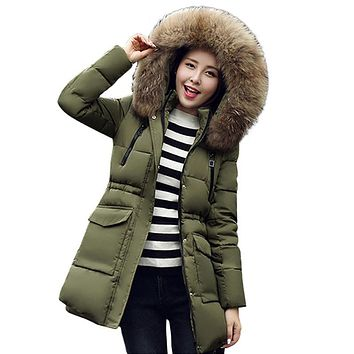 2017 high quality Fur collar hooded warm thicken women winter jacket coat solid cotton padded womens parka outerwear for women
