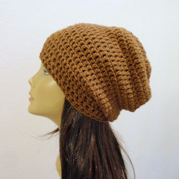 Brown Slouchy Beanie Brown Slouch Hat Beret Hand Knit Adult Teen Winter Chunky Crochet Hat Vegan Womens Slouch Beanie Men Unisex Slouch