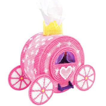 Plastic Canvas Cross Stitch kit Pumpkin carriage storage tissue box