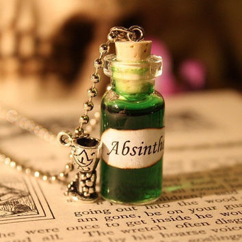 Glass Vial Necklace - Absinthe