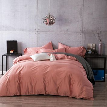 Pink Duvet Cover SET 60S Satin Egyptian Cotton bedding Set 4PC Solid Color King/Queen Size Flat Bed Sheet Pillowcase by CHAUSUB