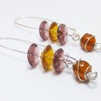 Brown, Amber and Purple Glass Beads on Long Silver-Plated Earwires Earrings