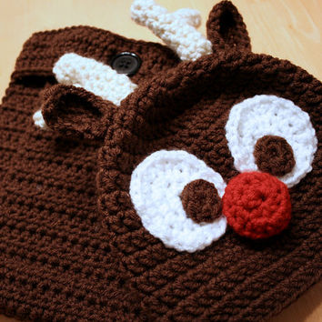 Rudolph Reindeer Newborn Outfit, Crochet Rudolph Hat and diaper cover, Reindeer Christmas set for newborns and babies