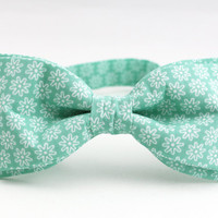Bow Tie by BartekDesign: pre tied mint green white flowers print wedding party grooms handmade