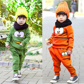 2 Pcs Baby Kid Unisex Suits Tracksuit Smiling Face Cotton Top Harem Pant Outfit = 1930190276