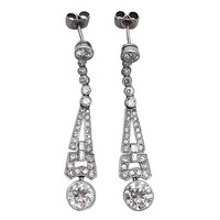 3.02 ct Diamond and Platinum Drop Earrings – Art Deco - Antique Circa 1920