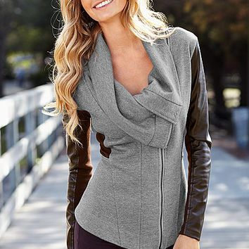 Faux leather sleeve sweater