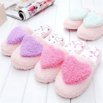Women Household Winter Cotton Slippers Fashion Heart Slippers