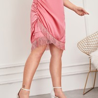 Plus Fringe Hem Ruched Satin Skirt