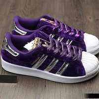 """Adidas"" SUPERSTAR Fashion Winter Suede Purple Sneakers"