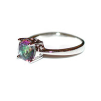 Size 7 Mystic Topaz CZ Sterling Silver Ring Rhodium Plated - Sterling Silver Rainbow Cubic Zirconia Ring Rhodium Plated