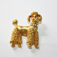 Vintage Poodle Rhinesstone Brooch Signed NEMO 1960s Jewelry