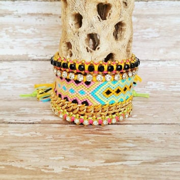 OOAK Friendship Bracelet and Bangle Layered Set | Three (3) Piece Arm Stack | Festival, Hippie, Gypsy, Boho Style | Bohemian Arm Candy