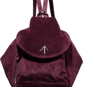 Manu Atelier - Fernweh mini leather-trimmed suede backpack