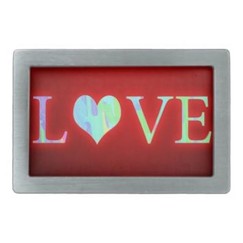Love Rectangular Belt Buckle