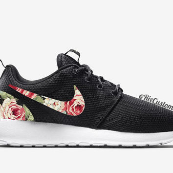 Floral Nike Roshe Run Custom Black White Roses