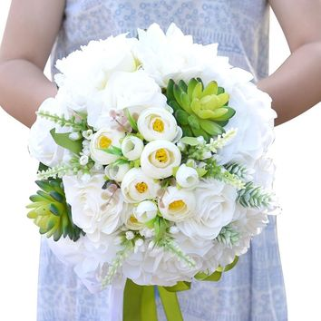 Aesthetically Versatile Bridal Bouquet Combined Silk Spray Roses Peony Flower Succulents With Ranunculus Wedding Bouquet D71