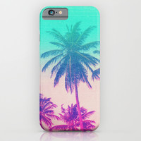 Pink Turquoise Tropical Beach Sunset Palms iPhone & iPod Case by Hyakume