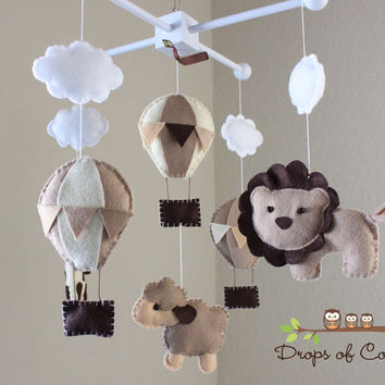 """Baby Mobile - Baby Crib Mobile - Hot Air Balloons, Clouds Animals Mobile """"Up in the Air"""" (You Can Pick your Colors and Animals)"""