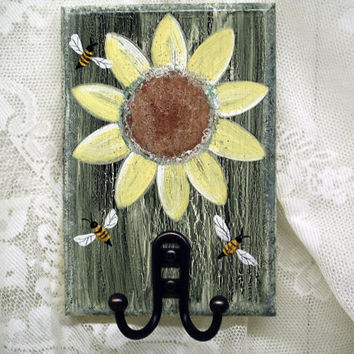 Sunflower Honeybee Wall Hook Hanger Key Towel Rustic Rural Cottage Shabby Decor Sage Green Pale Yellow Natural Sustainable Primitive