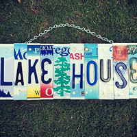 Lake House License Plate Art - Lake House Sign - Housewarming Gift - Cabin Decor - Lake House Decor - Birthday Gift
