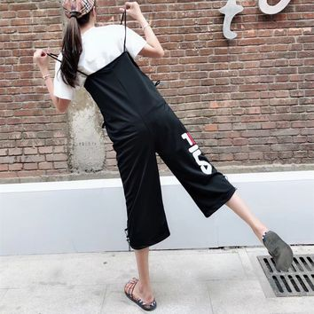 """Fila"" Women Casual Fashion Letter Back Strap Wide Leg Fifth Pants Romper Jumpsuit Trousers"