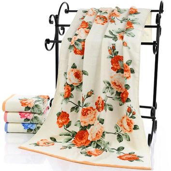 HAKOONA Roses Wreaths Floral Printed Large Bath Towel for Adults  75X140CM  100% Cotton Towels  Face Towel 34X75CM Hand Towel