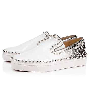 Best Online Sale Christian Louboutin Cl Pik Boat Men's Flat White-roccia/silver Patent 18s Sneakers 1180217h087