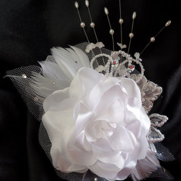 White Rose, Floral Hair Clip, Bridal Headpiece, Wedding Accessory