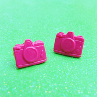 Pink Camera Stud Earrings - Hot Pink Retro Style Camera Post Earrings - Custom Colors Available - Polymer Clay