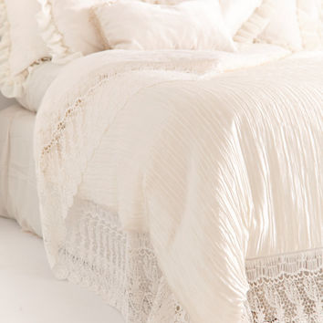 FRENCH COTTAGE BEDDING Beautiful Country Cottage Floral Embroidered Linen with Gorgeous Venetian Lace Trim