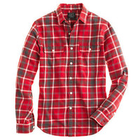 Flannel shirt in rusted red plaid