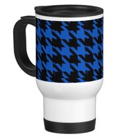 Commuter Mug Black & Blue Houndstooth Print