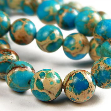 7-1/2 Inch Strand - 10mm Round Blue Sea Sediment Japser Beads - Gemstone Beads - Jewelry Supplies
