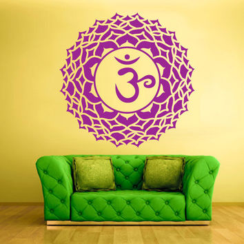 rvz1301 Wall Decal Vinyl Sticker Decals Crown Chakra Indian Om
