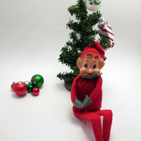Vintage Elf on a Shelf - Red and Green Elf - Elf Prank Mischief - Christmas Holiday Fun - cottage chic decoration