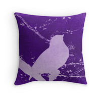 Bird on Branch Photo Pillow Cover, Pop Art Pillow, Purple Lilac Decor, Gardening Gift, Bird Lover, Girly, For Her, Gift Ideas, Nature Lover