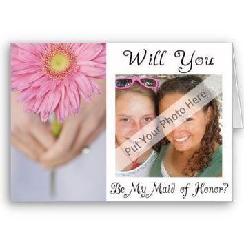 Personalize Be My Maid of Honor Photo Invitation Card from Zazzle.com