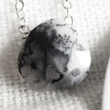"8 - Dendritic Opal 18"" Sterling Chain - Flash Sale Pricing"