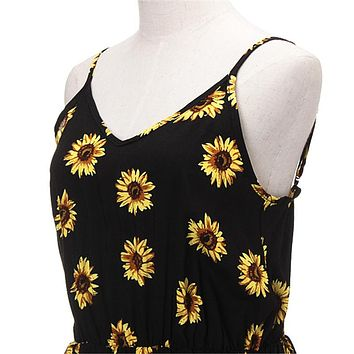 Strappy Sunflower Print Romper With Tassels