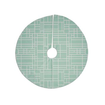 """Project M """"Map Outline Mint"""" Geometric Lines Tree Skirt"""