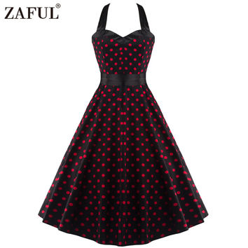 ZAFUL Women Dress Retro Sleeveless Dot Ball Gown Summer Vintage Dresses Pin up Vintage 50s 60s robe Rockabilly Feminino Vestidos