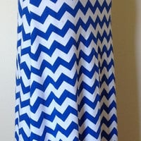 Royal blue and white Chevron maxi skirt, summer skirt, chevron maxi skirt, skirt, maternity skirt, long skirt