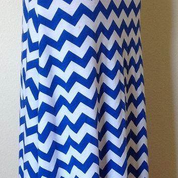 royal blue and white chevron maxi skirt from