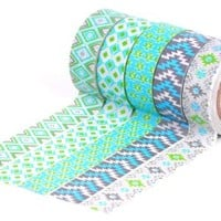 HIART Repositionable Washi Tape, Southwest Sizzle, Green, Set of 5