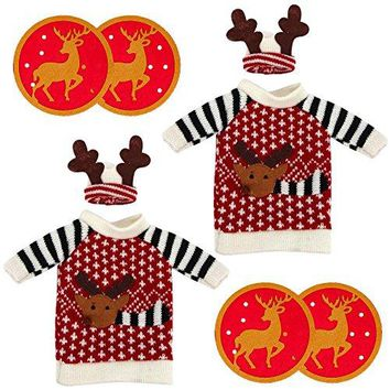 Set of 2 Christmas Reindeer Knitted Sweaters for Wine or Champagne Bottle Covers amp 4 Round Reversible Reindeer Drinks Coasters   Home Holiday Deacutecor Gift Set Red